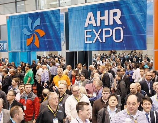 A crowd of people at the AHR Expo