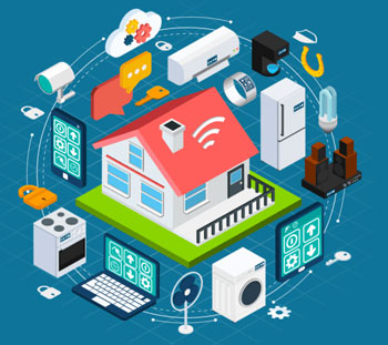 Home automation diagram with all electronics and appliances connected
