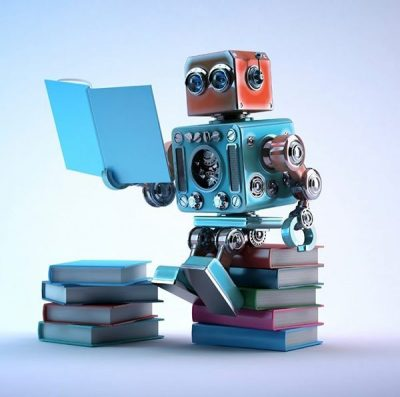 A colorful robot reading books