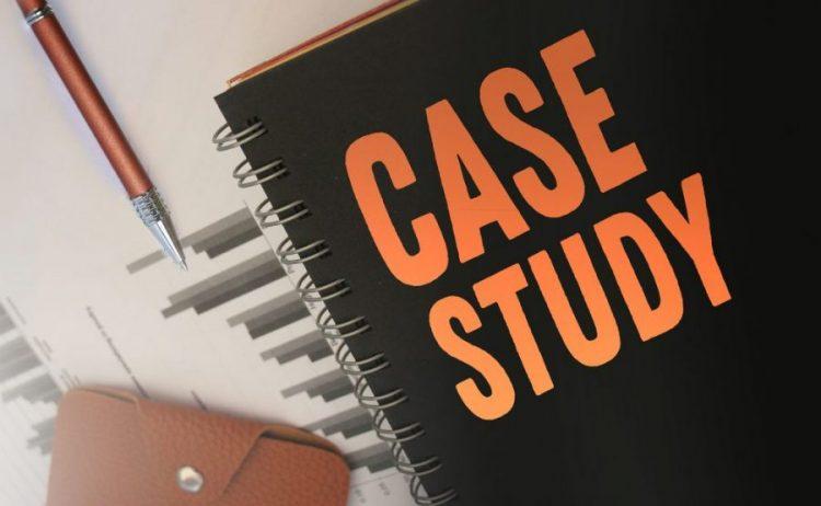 A journal with case study written on it in orange block letters